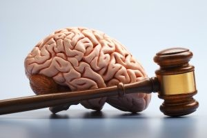 Picture of brain next to gavel