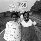 girls protesting on a road