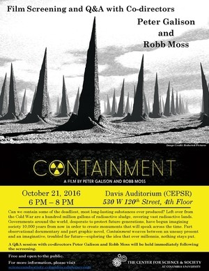Photograph of Containment film event on a yellow background