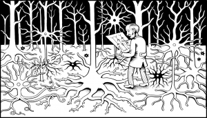 Illustration of a forest made of brain neurons and an older gentleman looking at a map amongst the dendrites