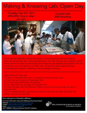 Making and Knowing Lab Open Day poster on red background