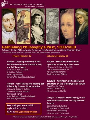 A flier with photos of various female philosophers from 1300-1800 on a purple background